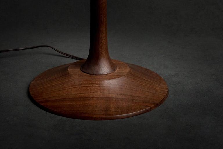 Mid-Century Modern Turned Walnut Guthrie Floor Lamp For Sale