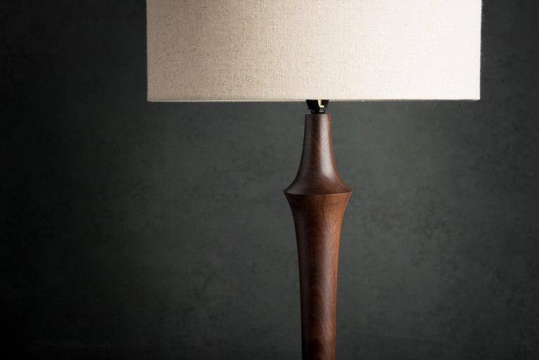 American Turned Walnut Guthrie Floor Lamp For Sale