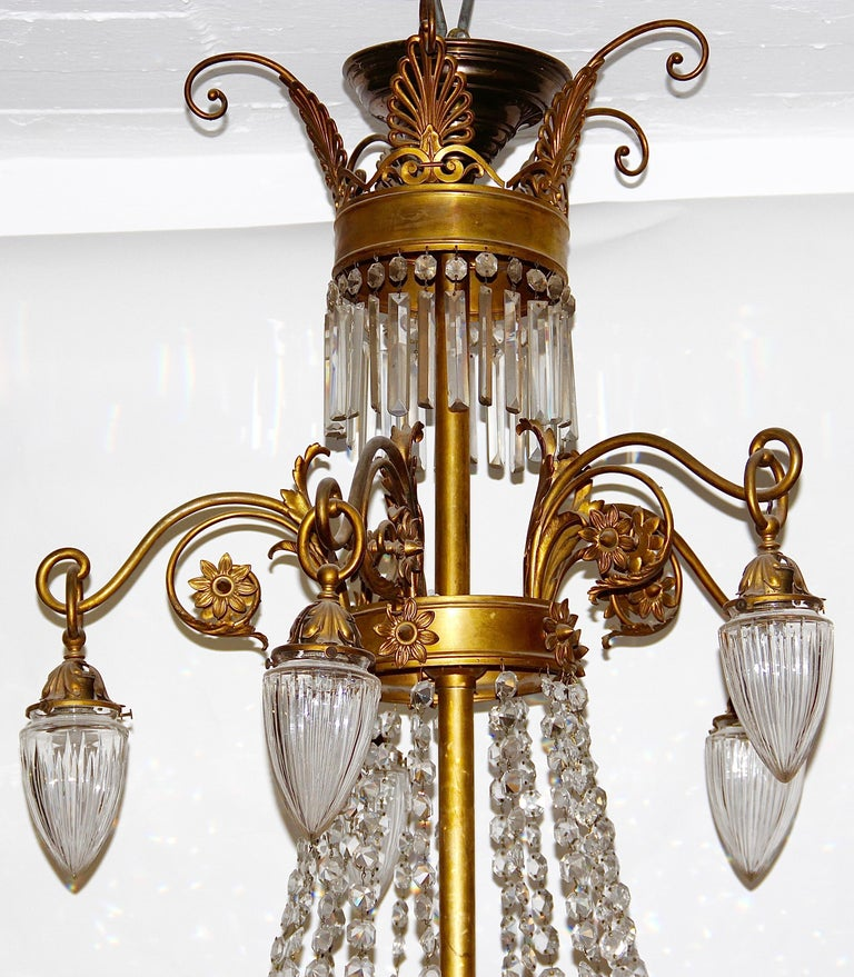 Gilt Empire Bronze Crystal Chandelier, with Fire-Gilded Swans, 19th Century For Sale