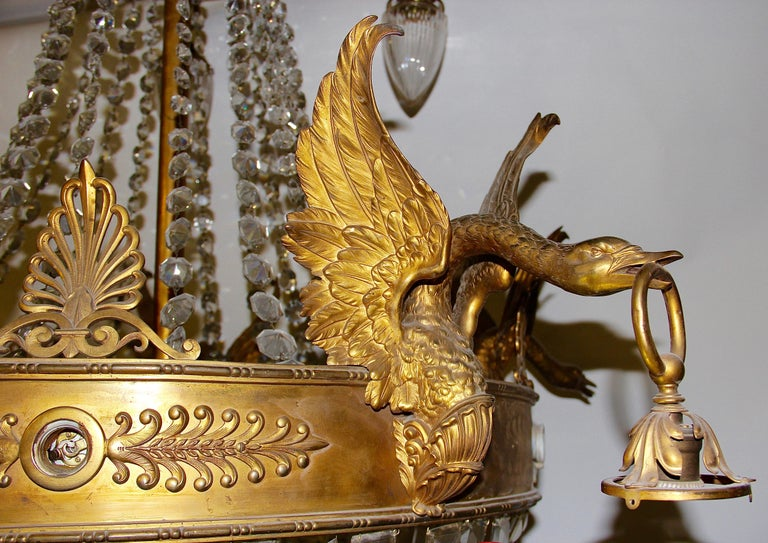 Empire Bronze Crystal Chandelier, with Fire-Gilded Swans, 19th Century For Sale 4