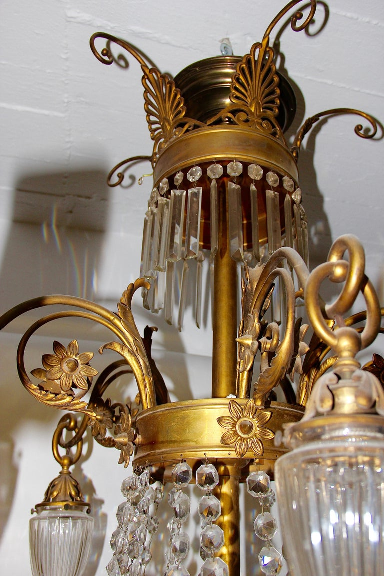 Empire Bronze Crystal Chandelier, with Fire-Gilded Swans, 19th Century For Sale 5