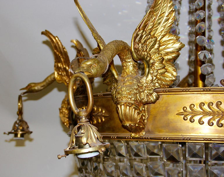 Empire Bronze Crystal Chandelier, with Fire-Gilded Swans, 19th Century For Sale 8