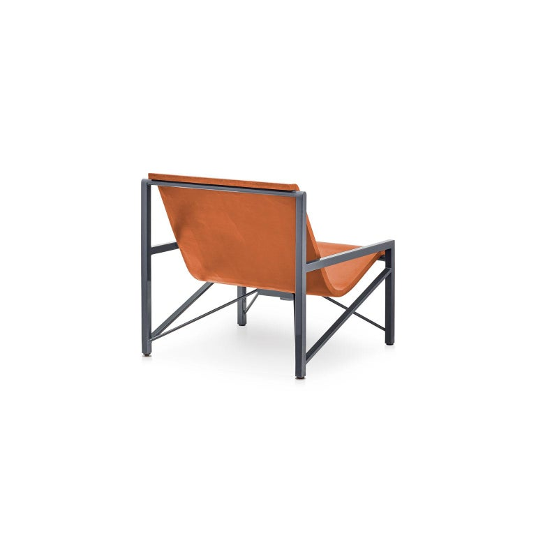 Inspired by a leather sling chair, the Evia Chair is an elegant piece of heated furniture made of cast stone and stainless steel by Galanter & Jones. Smooth like a river rock, the Helios warms your entire body with its efficient and comfortable
