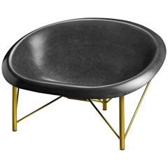 Heated Indoor/Outdoor Cast Stone Helios Love Chair, Custom Frame, Charcoal