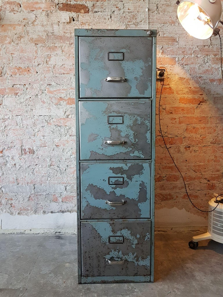 Ii Metal Cabinet Steel Lockers Four Cabinets Loft Style Brushed In Excellent Condition For