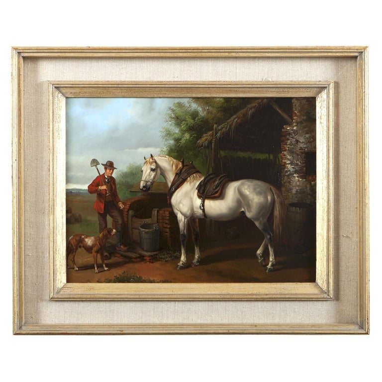 Lovely set of four oils on panel depicting Horses, very nice detail! In contemporary frames.  Hungarian School, monogrammed, circa 1950.