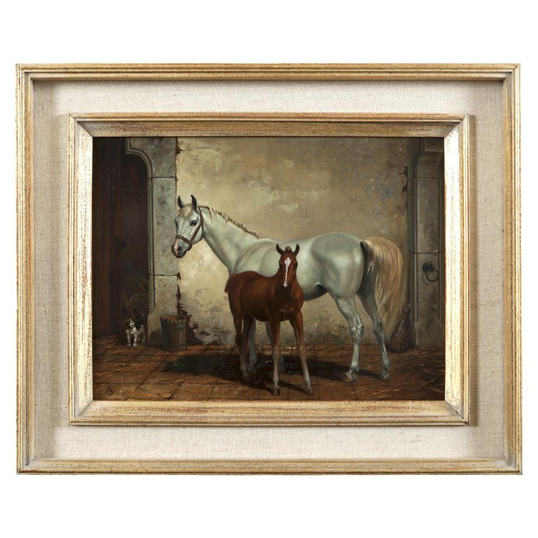 Country Set of Four Hungarian School Oils on Panel of Horses 'Hungary, 20th Century' For Sale