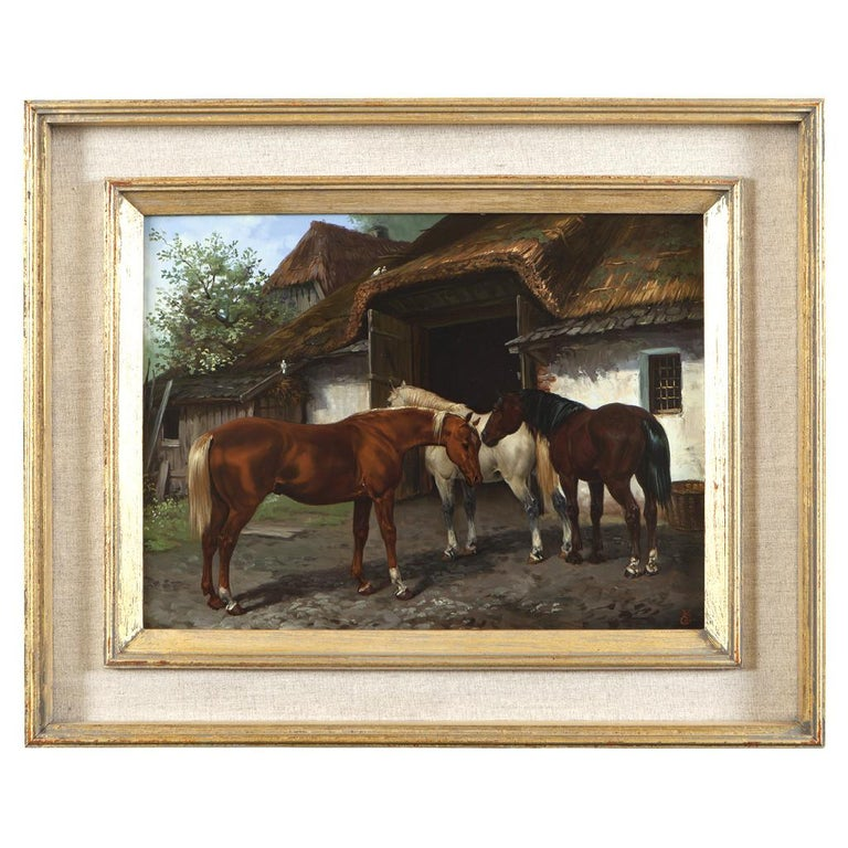 Painted Set of Four Hungarian School Oils on Panel of Horses 'Hungary, 20th Century' For Sale