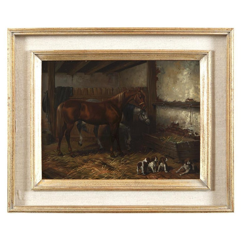Set of Four Hungarian School Oils on Panel of Horses 'Hungary, 20th Century' In Good Condition For Sale In Uppingham, GB