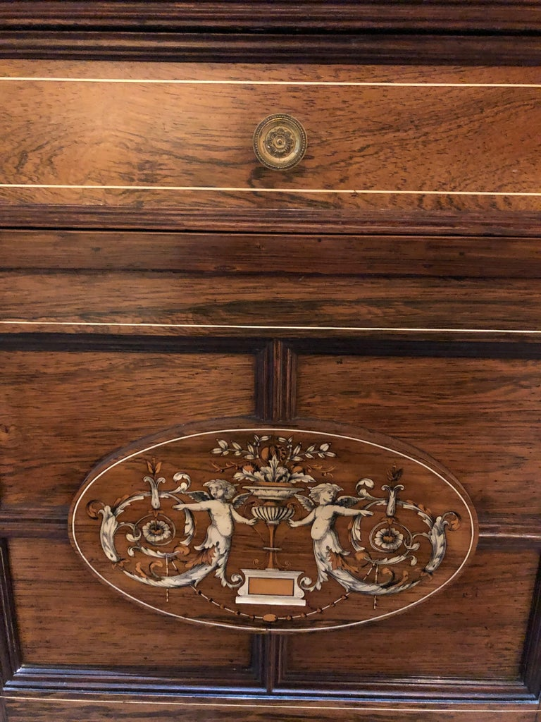 Neoclassical Revival Late 19th Century Rosewood Inlaid Cabinet Dresser For Sale
