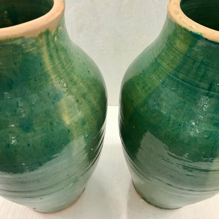 Very Large Handmade Rustic/Farmhouse Blue-Green Glazed Terracotta Clay Pots Jars For Sale 7
