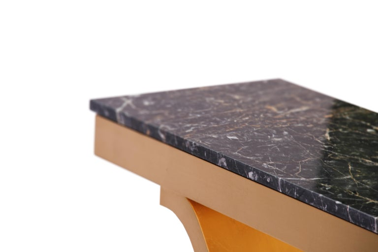 Gold-Plated Contemporary Stone Top Console Table In Good Condition For Sale In London, GB