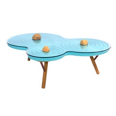 "Contemporary Coffee Table ""Ondulação"", Lacquered Blue"