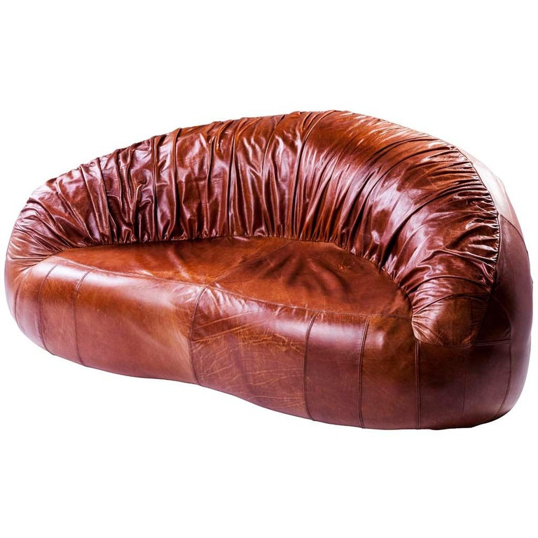 Pangolin Pleated Leather Contemporary Retro Style Sofa By Egg Designs For