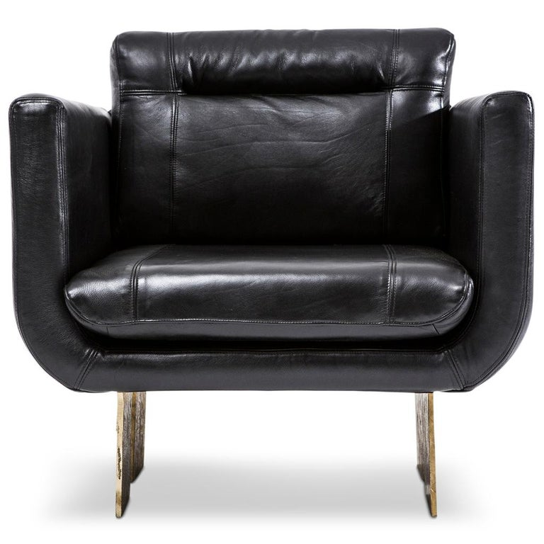 The Primal lounge chair is part of the Primal collection designed by Egg Designs and manufactured in South Africa. This Brutalist style lounge chair was inspired by the rough, brutal beauty of Africa. The solid brass cast leg, which is the real