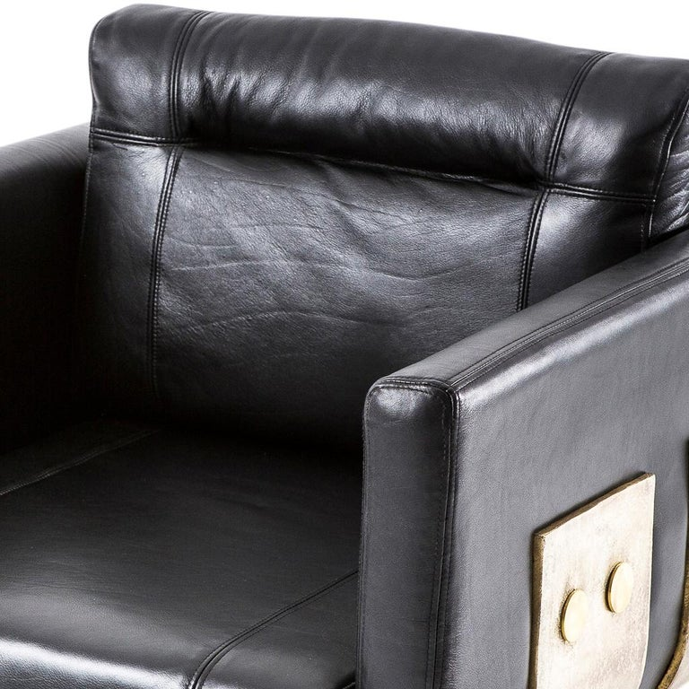 South African Cast Brass and Leather Primal Lounge Chair by Egg Designs For Sale