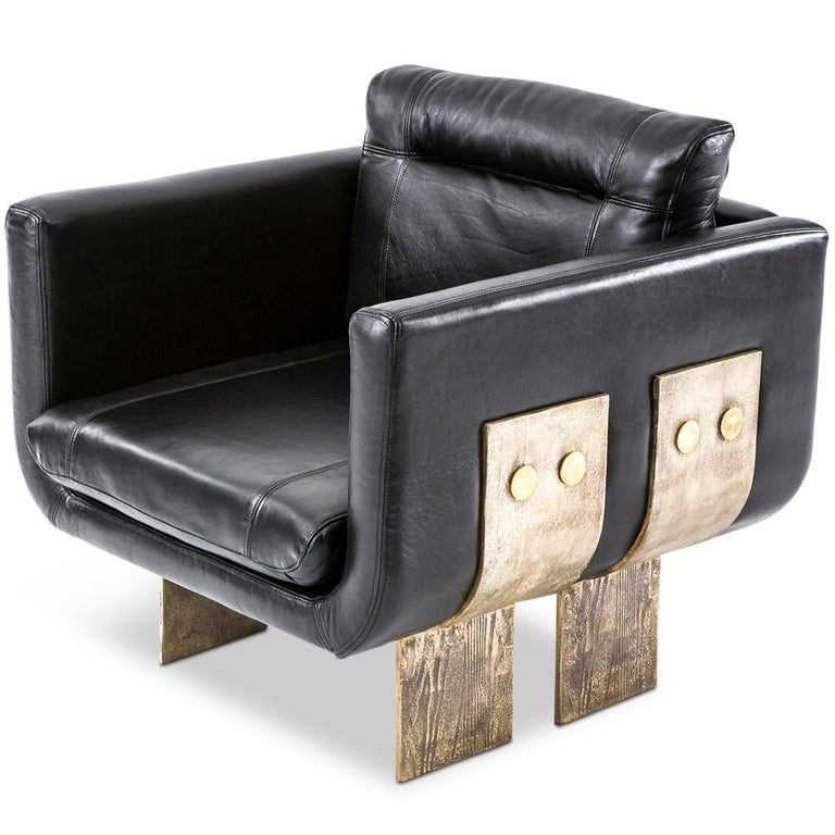 Cast Brass and Leather Primal Lounge Chair by Egg Designs In New Condition For Sale In Bothas Hill, KZN