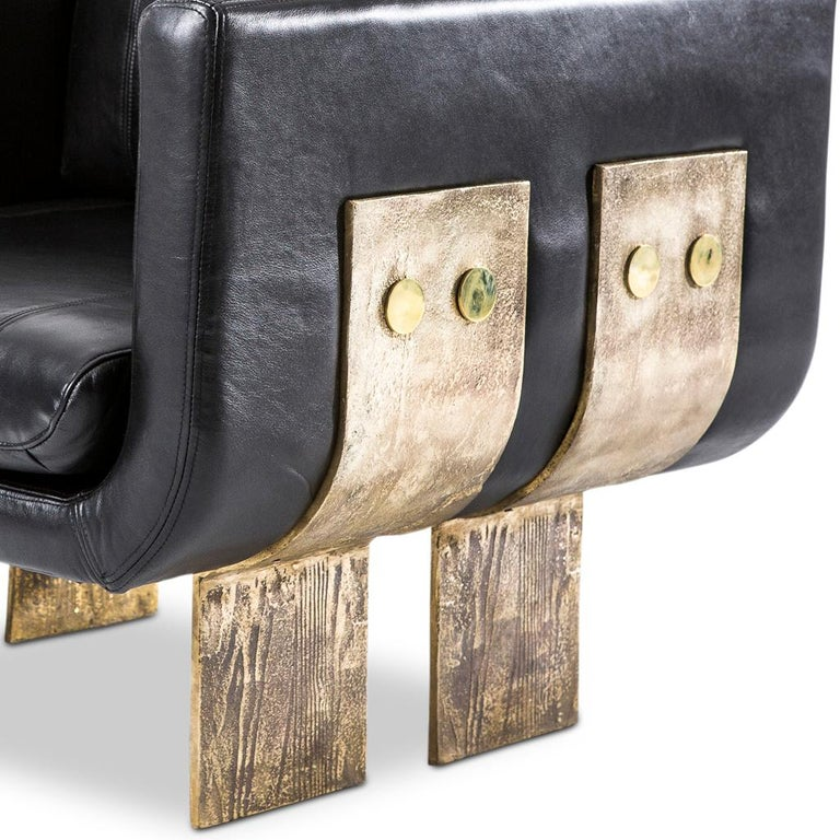 Contemporary Cast Brass and Leather Primal Lounge Chair by Egg Designs For Sale