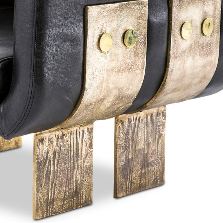 Cast Brass and Leather Primal Lounge Chair by Egg Designs For Sale 1
