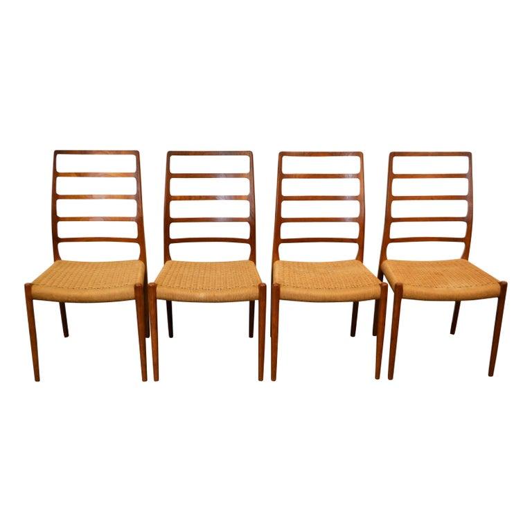 Danish Niels O. Møller Teak Model 82 Dining Chairs, Set of Four For Sale