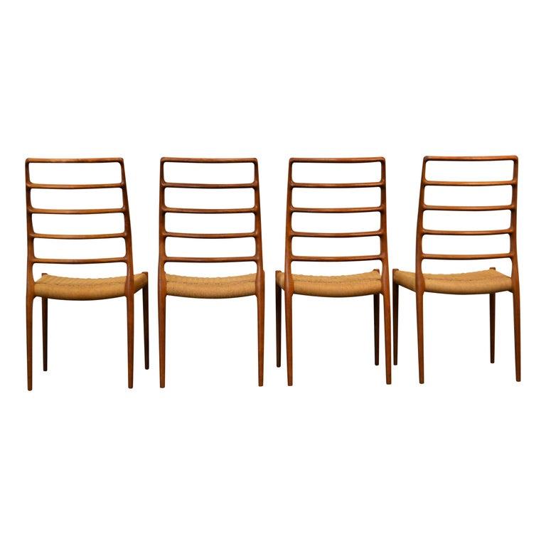 Rope Niels O. Møller Teak Model 82 Dining Chairs, Set of Four For Sale