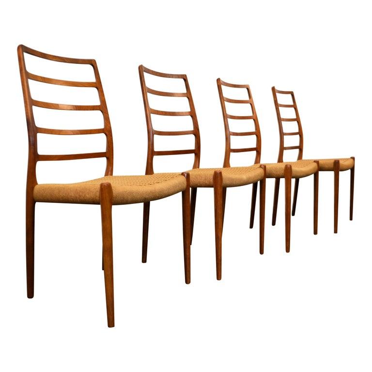 Niels O. Møller Teak Model 82 Dining Chairs, Set of Four For Sale