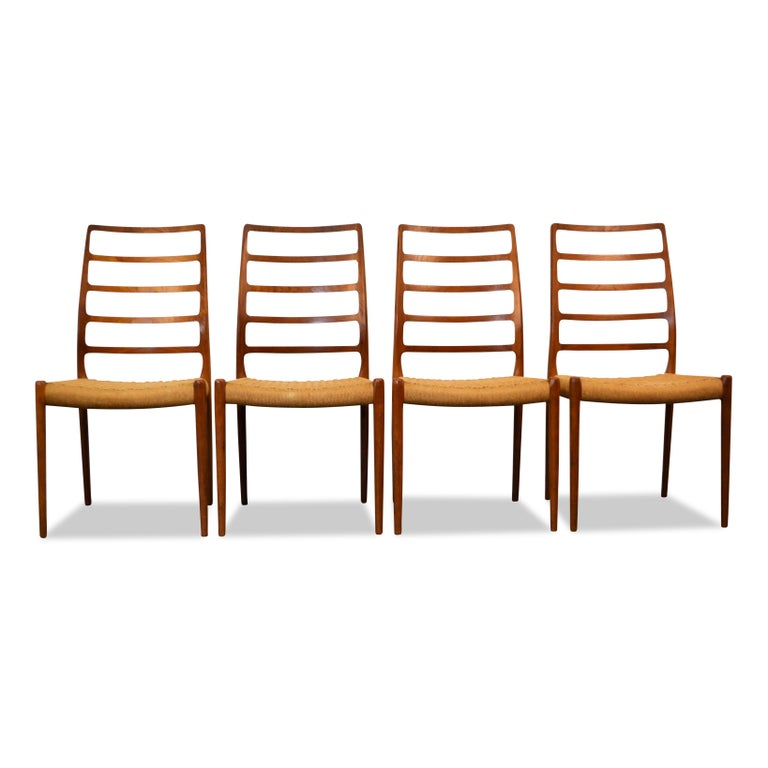 Mid-Century Modern Niels O. Møller Teak Model 82 Dining Chairs, Set of Four For Sale