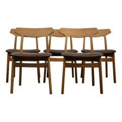 Henning Kjaernulf Oak Dining Chairs, Set of Five