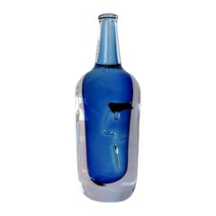 Göran Wärff Solid Crystal Face Bottle for Kosta Boda