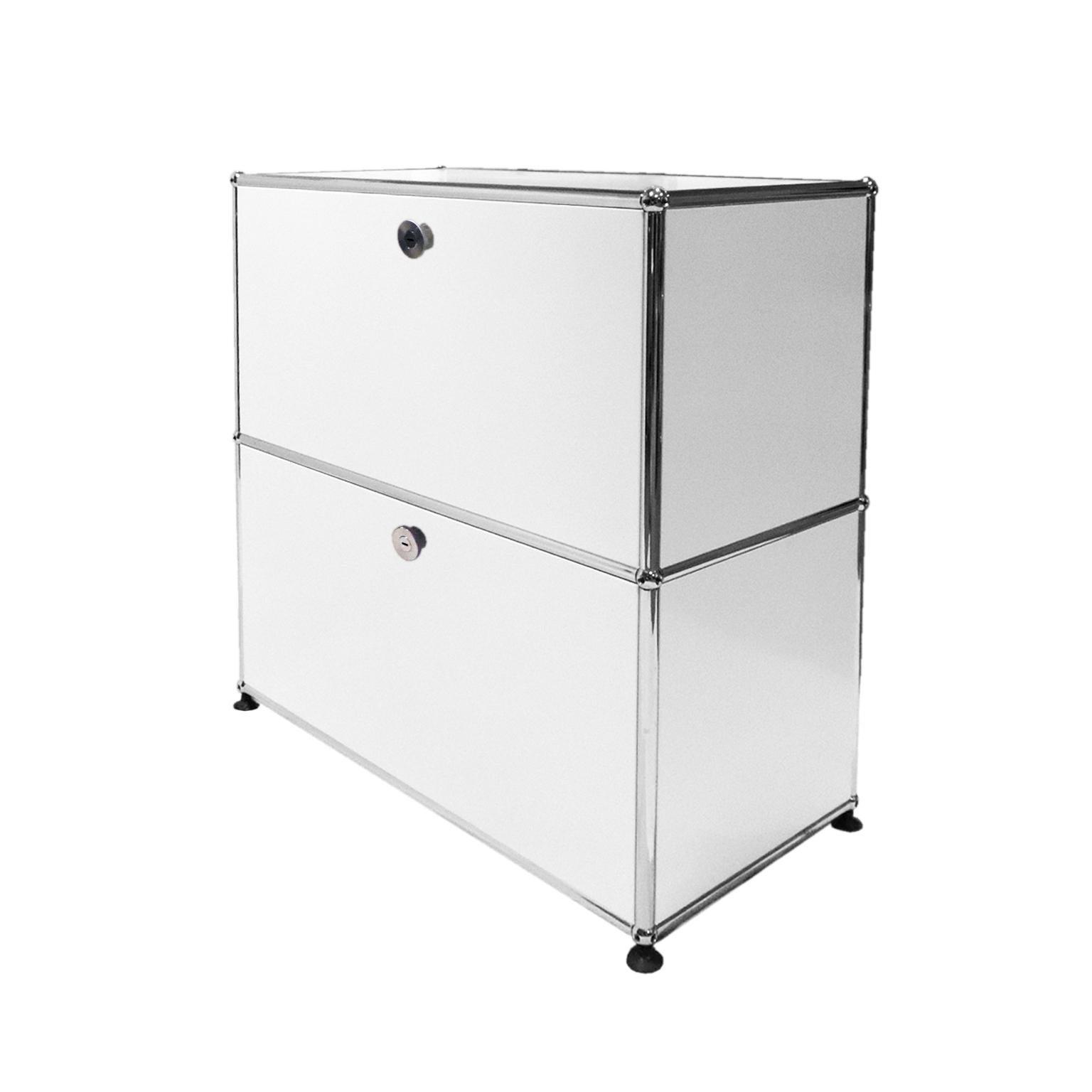 White USM Modular Furniture Storage Unit Designed By Fritz Haller For Sale