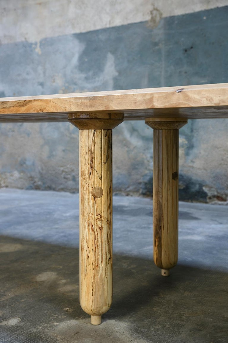 Contemporary Madera dining table in Briar Root hardwood without metal joints In New Condition For Sale In Milan, Lombardy