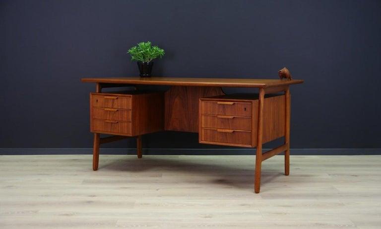 Scandinavian Omann Jun Writing Desk Classic Teak Vintage For Sale