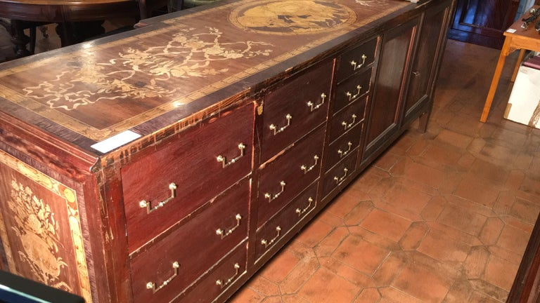 20th Century Louis XV Rosewood Inlaid Italian Shop Table Store Furniture For Sale 3