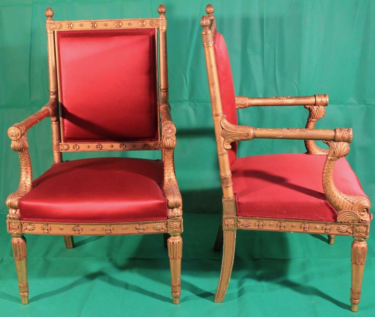 Late 19th Century Pair of Frederic Quignon 19th Century Napoleon III Giltwood French Armchairs For Sale