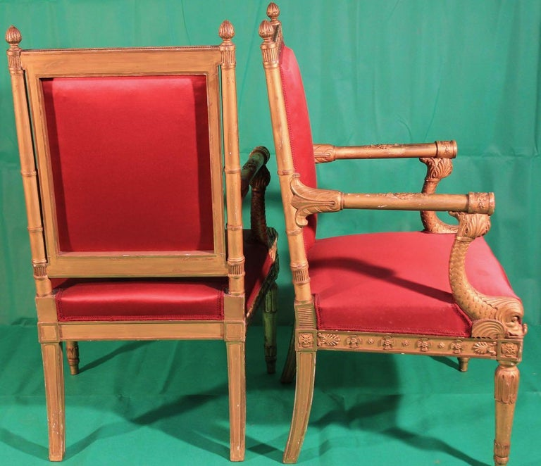 Pair of Frederic Quignon 19th Century Napoleon III Giltwood French Armchairs For Sale 1