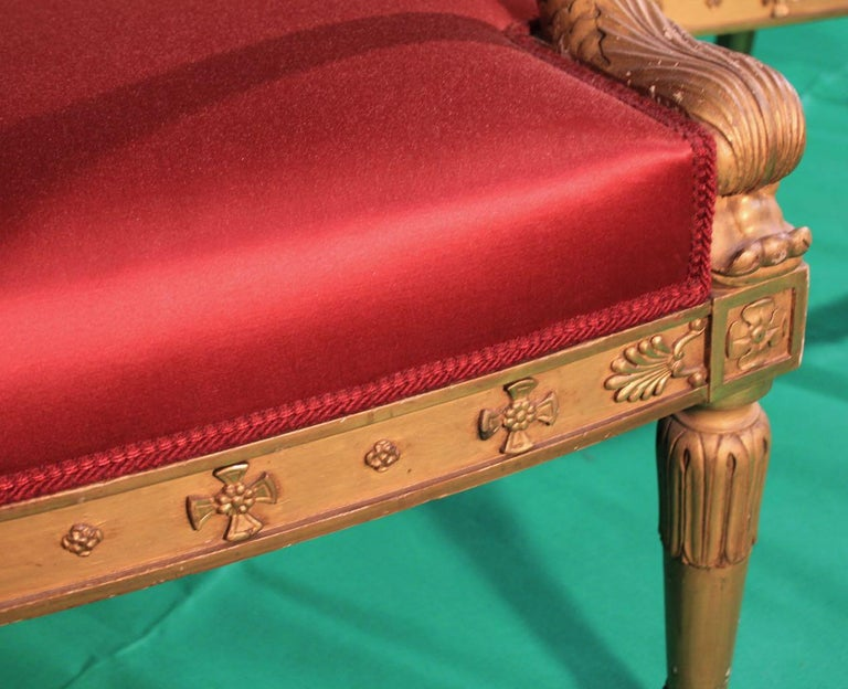 Pair of Frederic Quignon 19th Century Napoleon III Giltwood French Armchairs For Sale 2