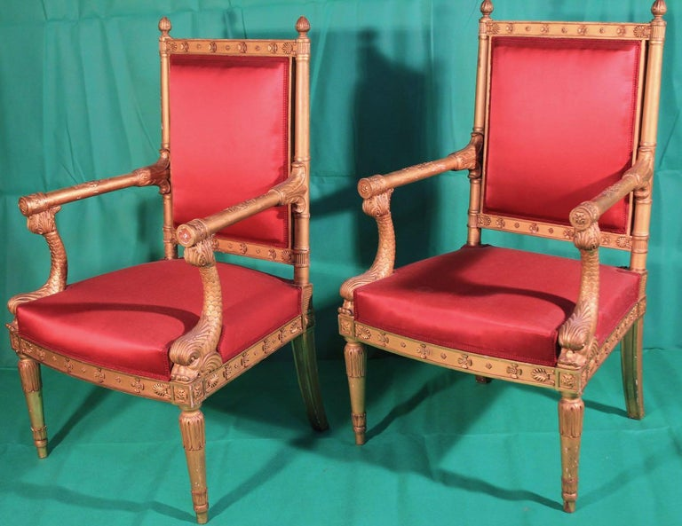 Pair of Frederic Quignon 19th Century Napoleon III Giltwood French Armchairs For Sale 5