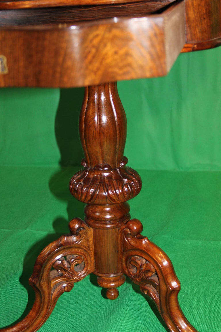 19th Century Biedermeier Rosewood Work Table For Sale 4