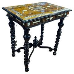 19th Century Louis XV Italian Rosewood Ivory Side Table, circa 1830s