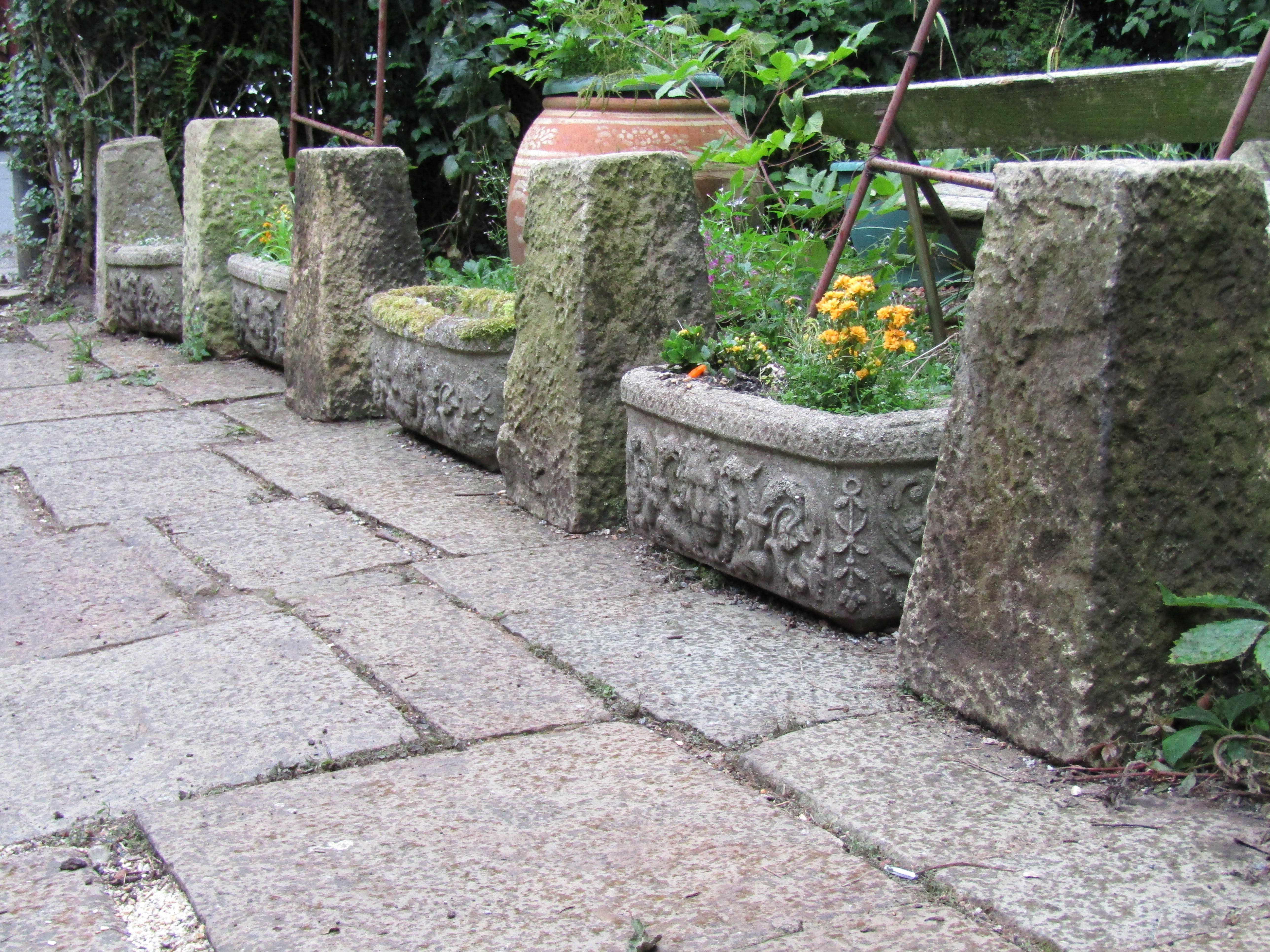 French Provincial Set Of 11 Cast Reconstituted Stone Garden Planters Troughs  1900s Garden Feature For Sale