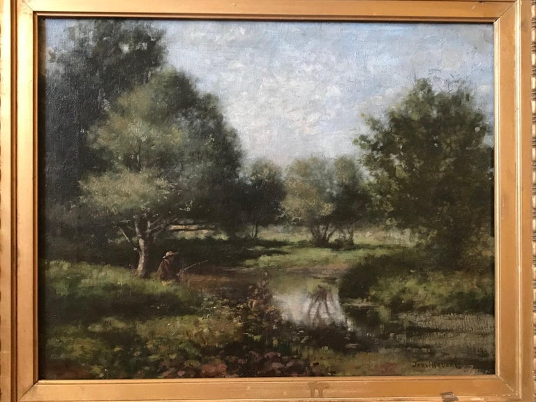 This is a beautiful landscape painting from the French Barbizon School. The oil painting on canvas shows the typical style of atmospheric silvery landscape in cool damp colors. It is signed on the lower right - TROUILLEBERT -. The painting is housed