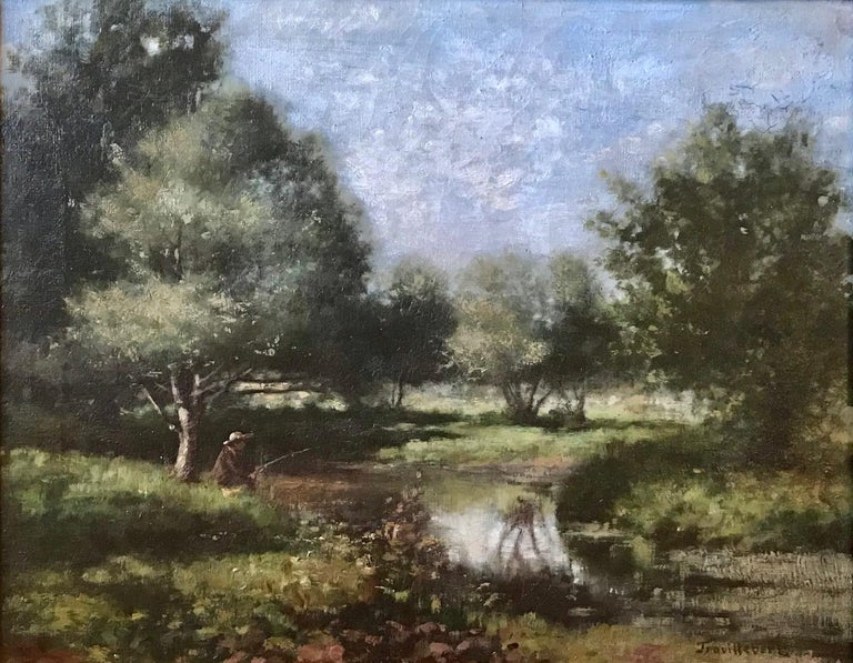 Gilt 19th Century French Barbizon School Landscape Painting For Sale