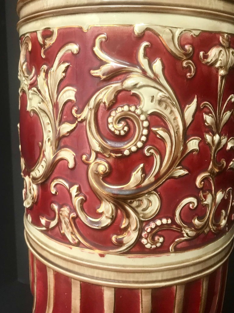 English 19th Century Majolica Jardinière Pedestal, Large Victorian Plant Stand, England For Sale
