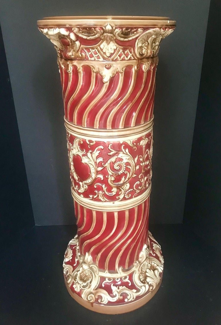 19th Century Majolica Jardinière Pedestal, Large Victorian Plant Stand, England For Sale 1