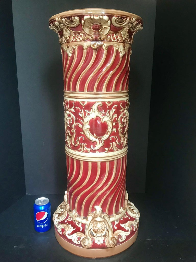 19th Century Majolica Jardinière Pedestal, Large Victorian Plant Stand, England For Sale 9