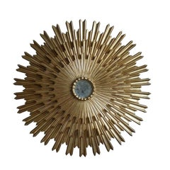 Grand Triple Layered Giltwood Sunburst Mirror, Spain 1950s