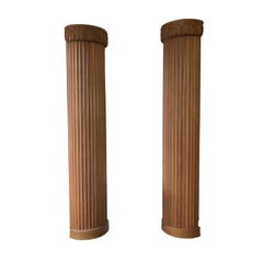 Hand Carved Fluted Wood ½ Columns Pair, Austria, 1900s