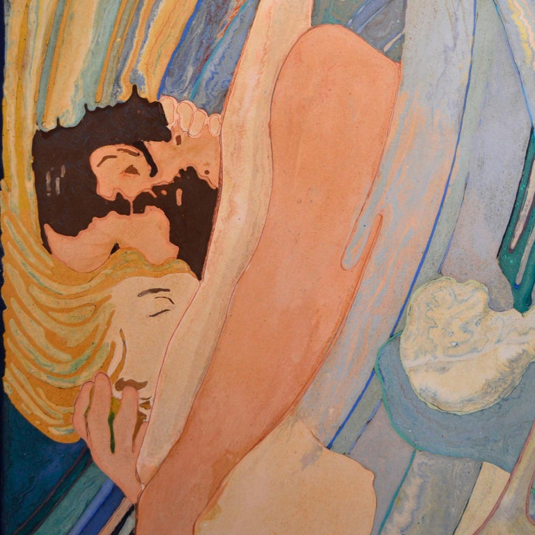 This panel is a tribute to the artist Alfred Roller and it has been manufactured always using our inlay technique in semi-textured scagliola. It depicts two lovers in the water in a whirlwind of love and passion.