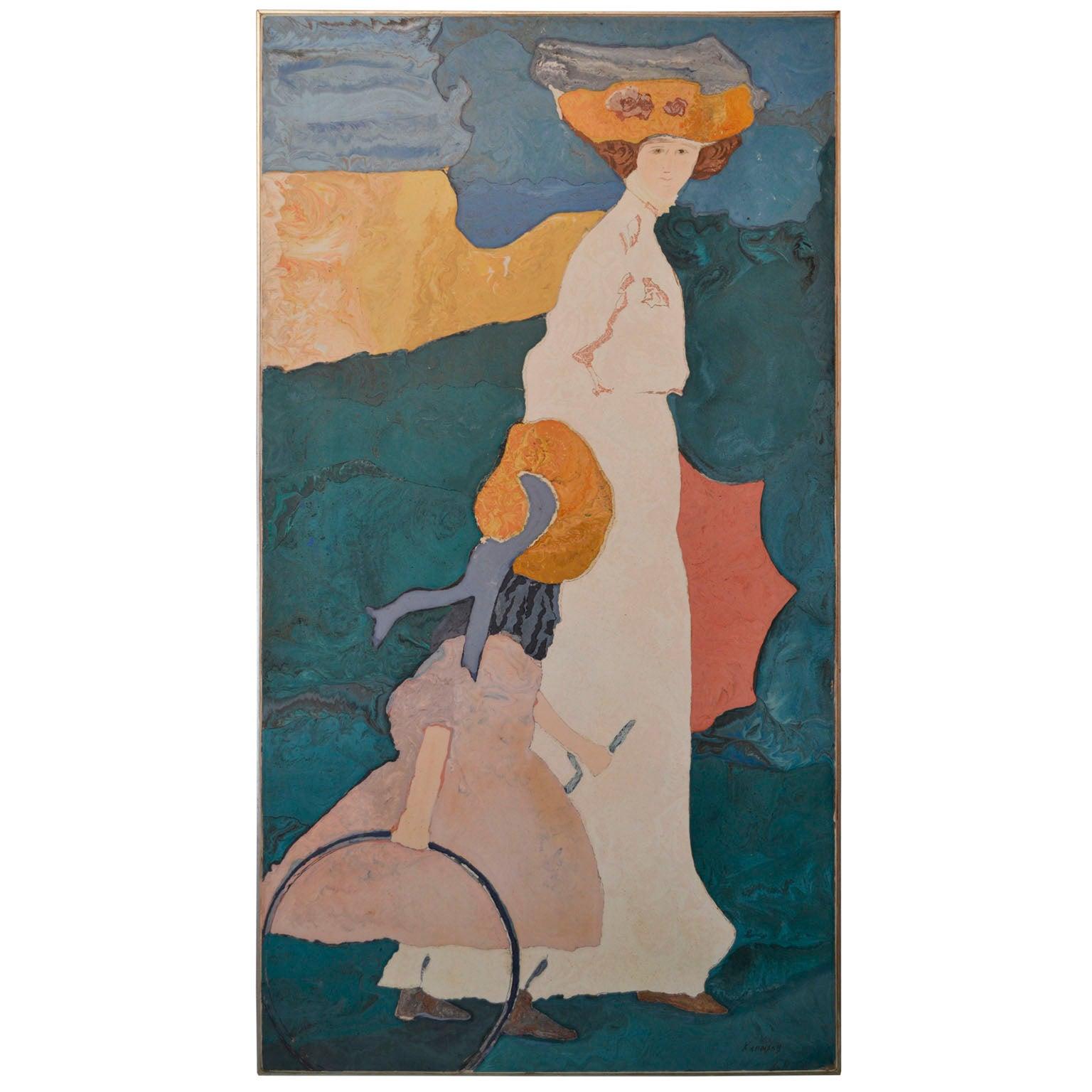 Artistic Wall Panel Scagliola Art Decoration handmade tribute to Kandinsky paint