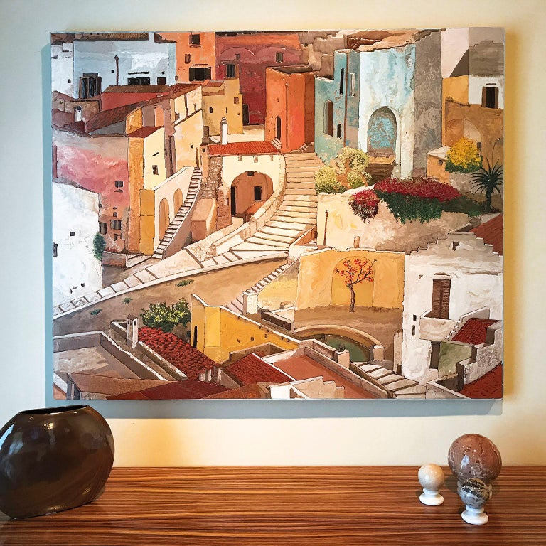 This beautiful panel is a single piece and was created after visiting the wonderful city of Matera, declared human heritage.